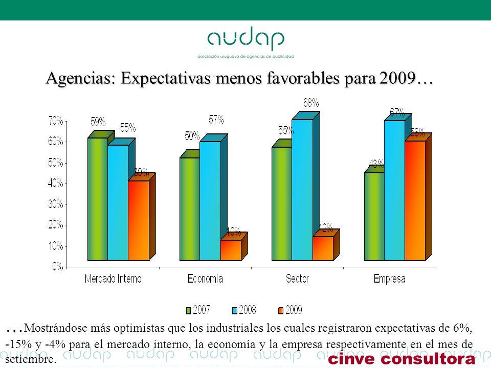 Agencias: Expectativas menos favorables para 2009…