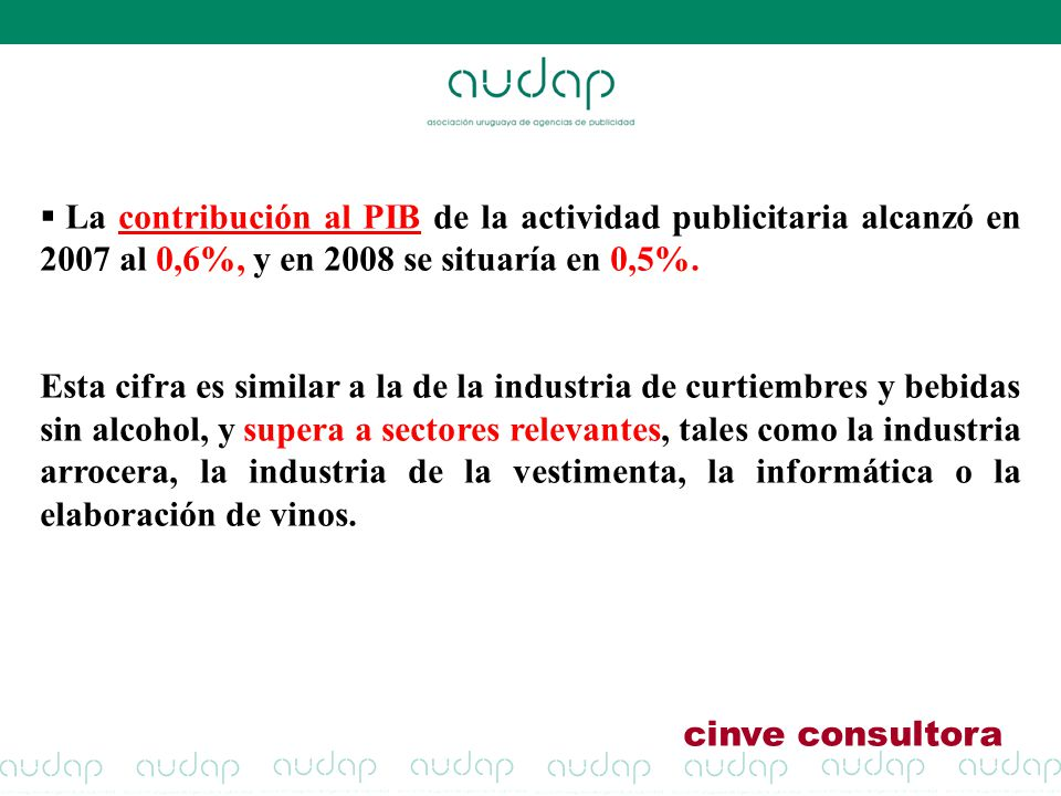 La contribución al PIB de la actividad publicitaria alcanzó en 2007 al 0,6%, y en 2008 se situaría en 0,5%.
