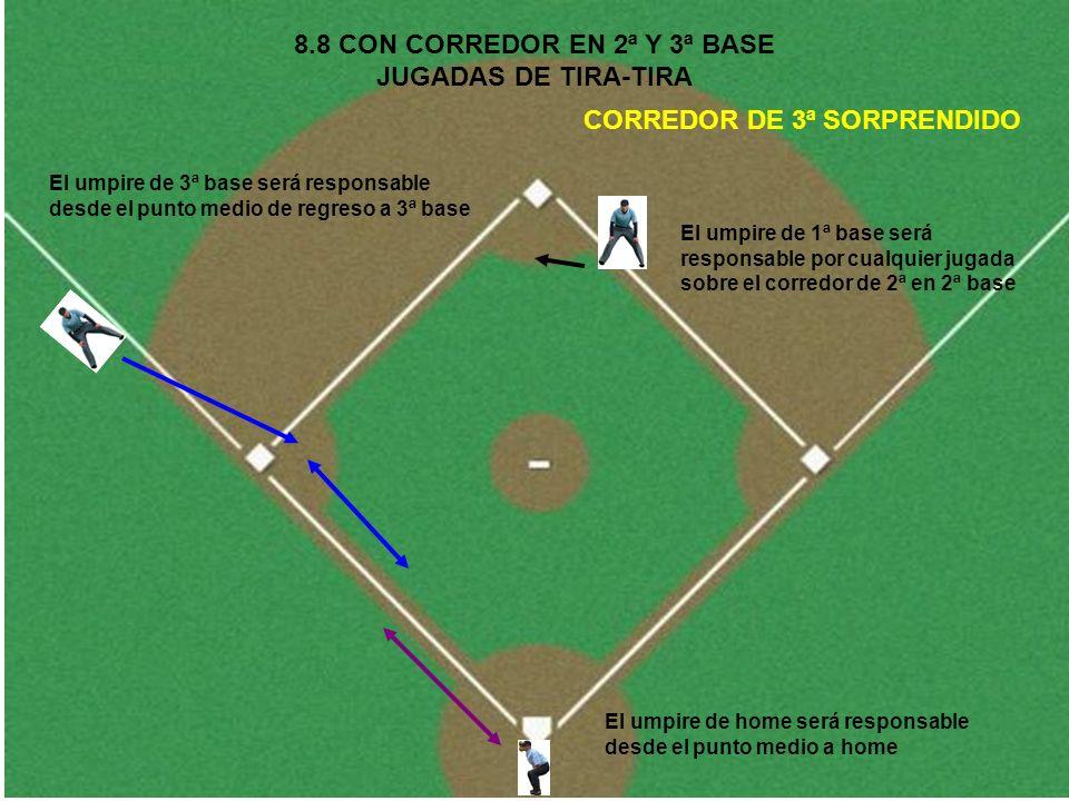 8.8 CON CORREDOR EN 2ª Y 3ª BASE JUGADAS DE TIRA-TIRA