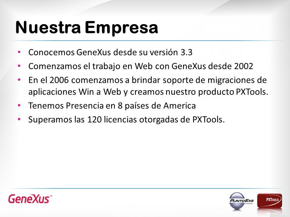 Nuestra Empresa Conocemos GeneXus desde su versión 3.3
