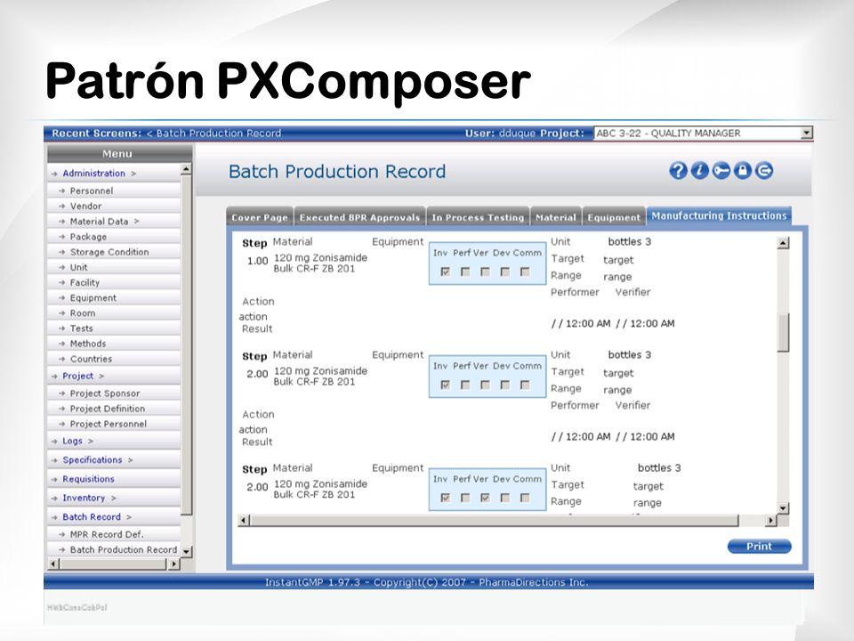 Patrón PXComposer El resultado lo podemos ver con éstas imágenes.