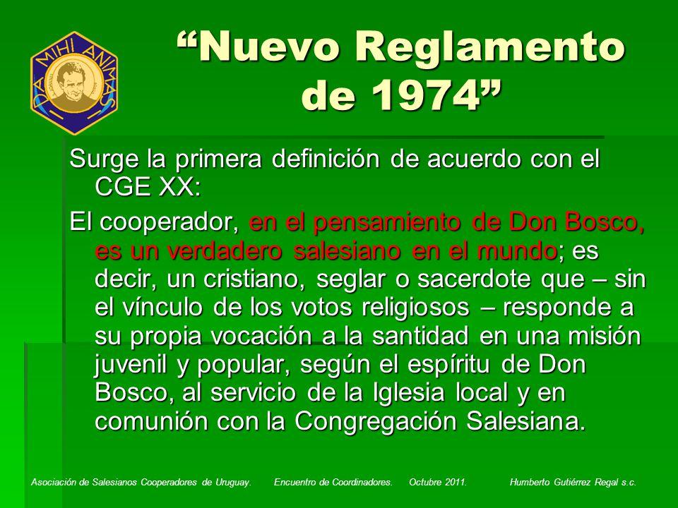 Nuevo Reglamento de 1974 Surge la primera definición de acuerdo con el CGE XX: