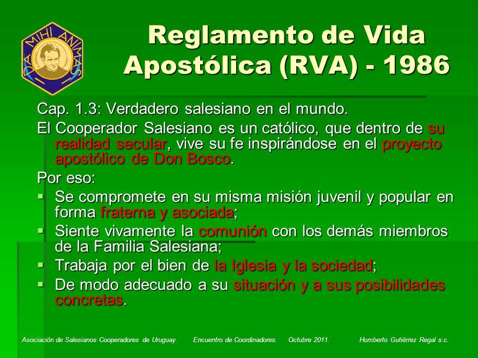 Reglamento de Vida Apostólica (RVA) - 1986