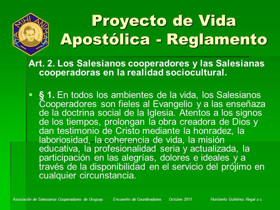 Proyecto de Vida Apostólica - Reglamento