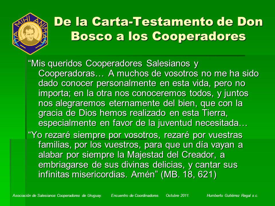 De la Carta-Testamento de Don Bosco a los Cooperadores