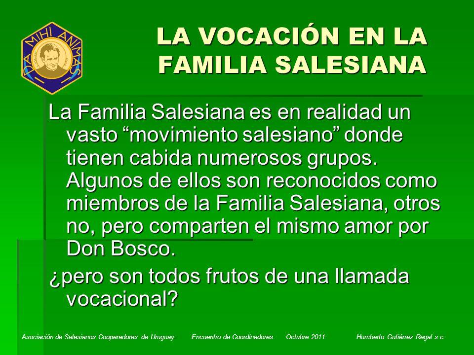 LA VOCACIÓN EN LA FAMILIA SALESIANA