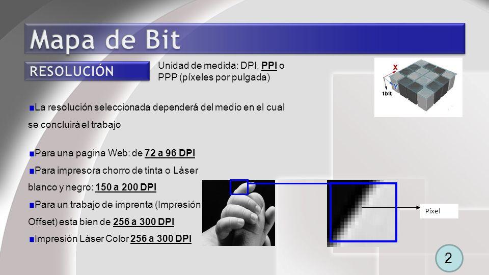 Mapa de Bit Unidad de medida: DPI, PPI o PPP (píxeles por pulgada) RESOLUCIÓN.