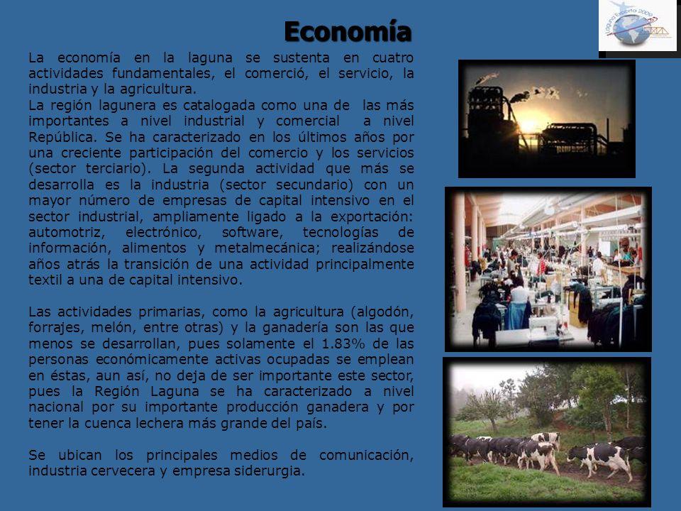 Economía La economía en la laguna se sustenta en cuatro actividades fundamentales, el comerció, el servicio, la industria y la agricultura.