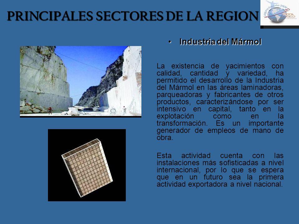 PRINCIPALES SECTORES DE LA REGION