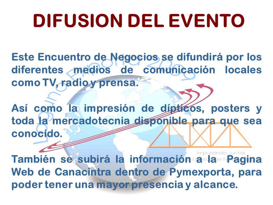 DIFUSION DEL EVENTO Este Encuentro de Negocios se difundirá por los diferentes medios de comunicación locales como TV, radio y prensa.