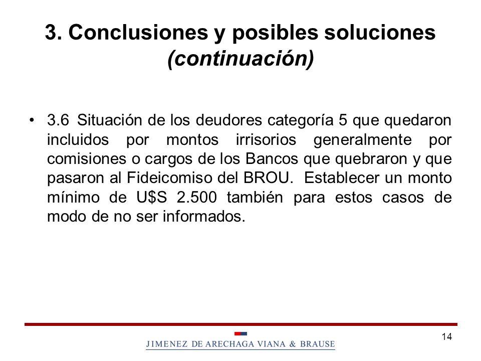3. Conclusiones y posibles soluciones (continuación)