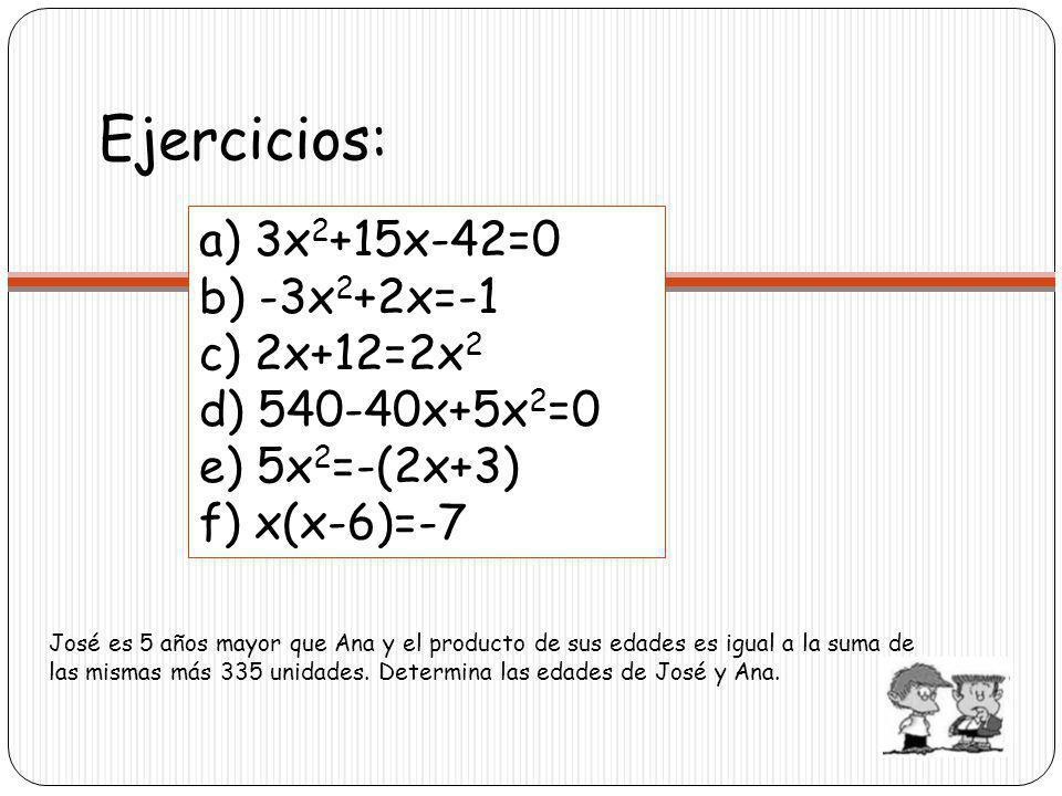 Ejercicios: a) 3x2+15x-42=0 b) -3x2+2x=-1 c) 2x+12=2x2