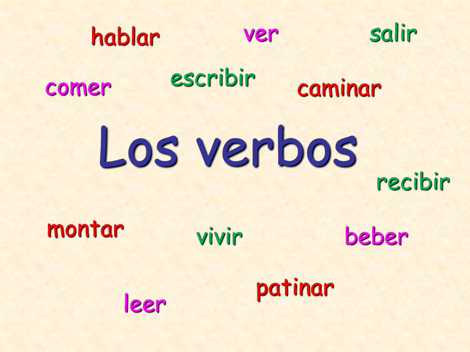 Los verbos ver salir hablar escribir comer caminar recibir montar