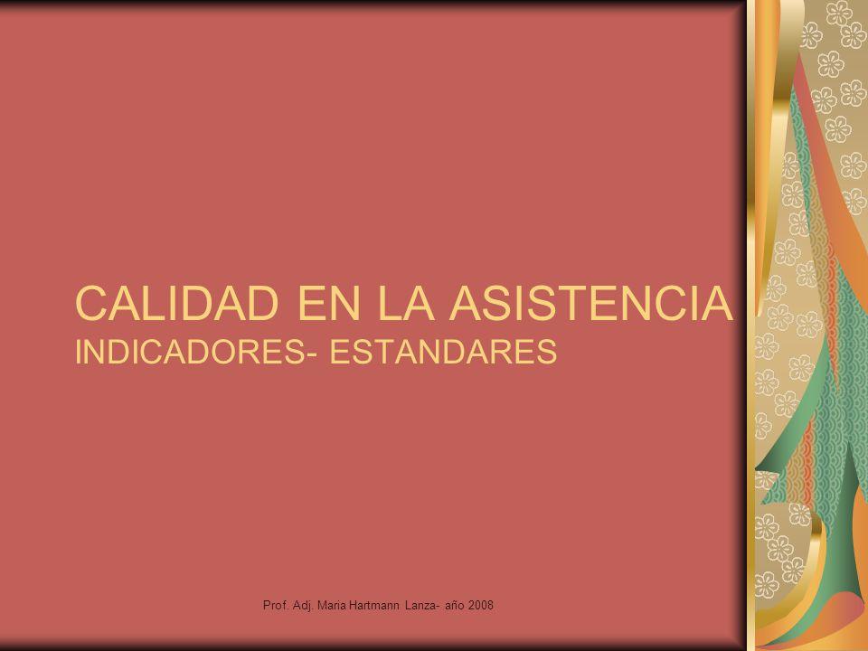 CALIDAD EN LA ASISTENCIA INDICADORES- ESTANDARES