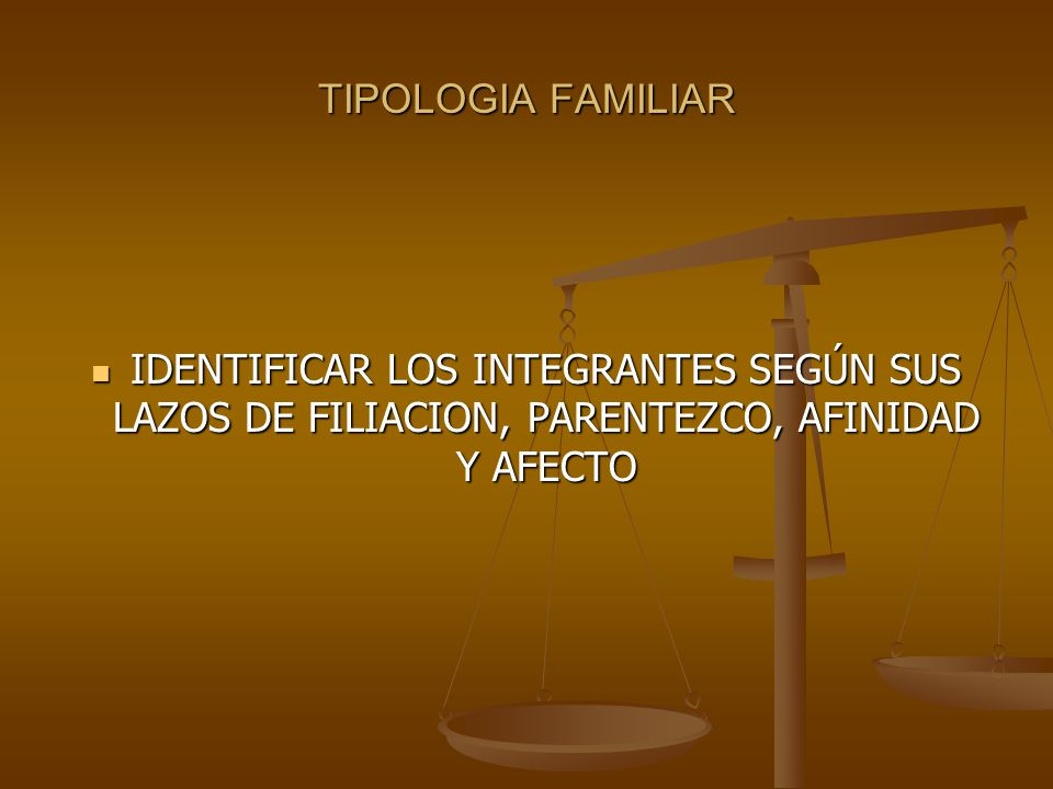TIPOLOGIA FAMILIAR IDENTIFICAR LOS INTEGRANTES SEGÚN SUS LAZOS DE FILIACION, PARENTEZCO, AFINIDAD Y AFECTO.