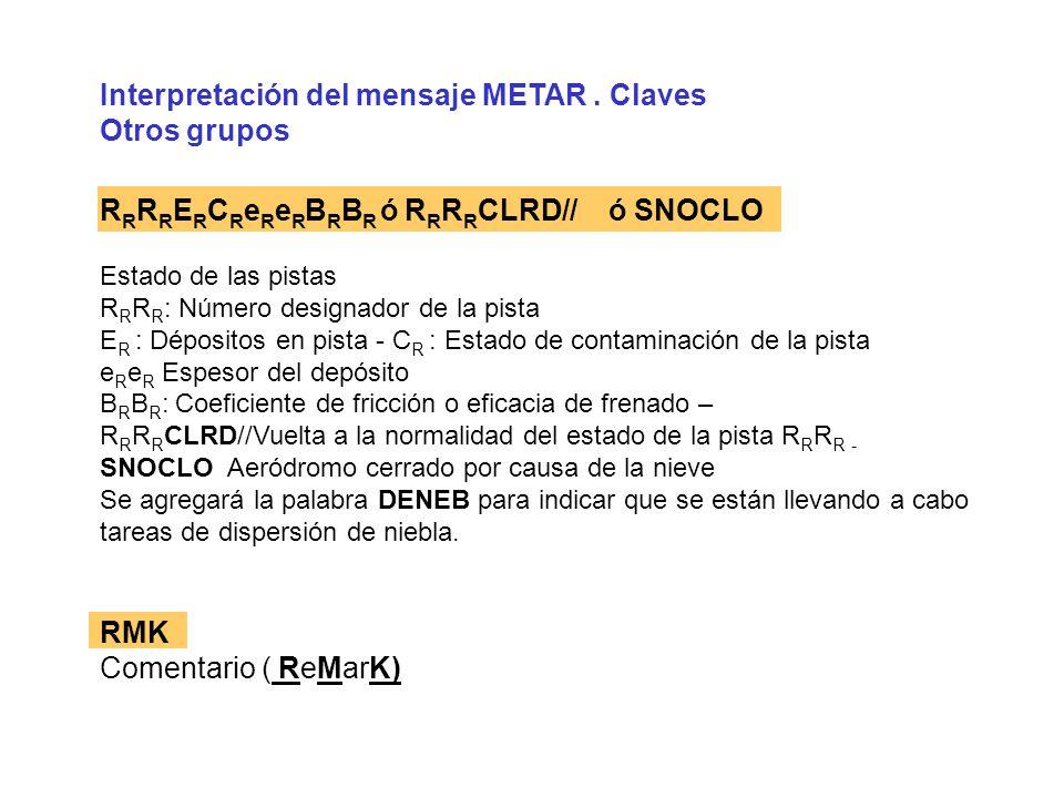 Interpretación del mensaje METAR . Claves Otros grupos