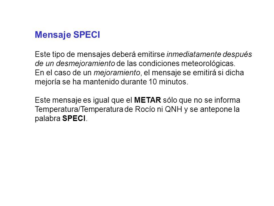 Mensaje SPECI Este tipo de mensajes deberá emitirse inmediatamente después de un desmejoramiento de las condiciones meteorológicas.