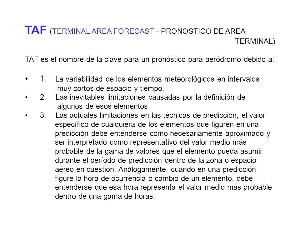 TAF (TERMINAL AREA FORECAST - PRONOSTICO DE AREA TERMINAL)