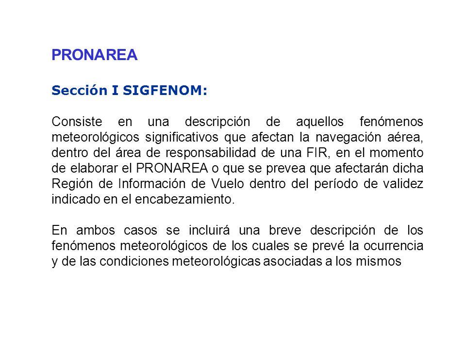 PRONAREA Sección I SIGFENOM: