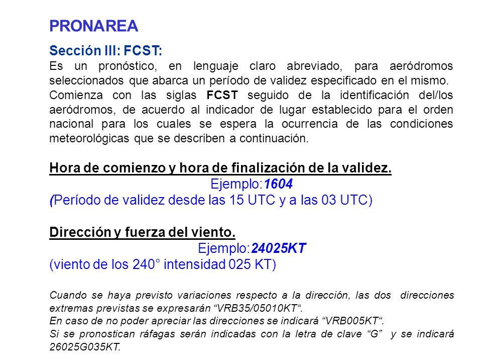 PRONAREA Sección III: FCST: