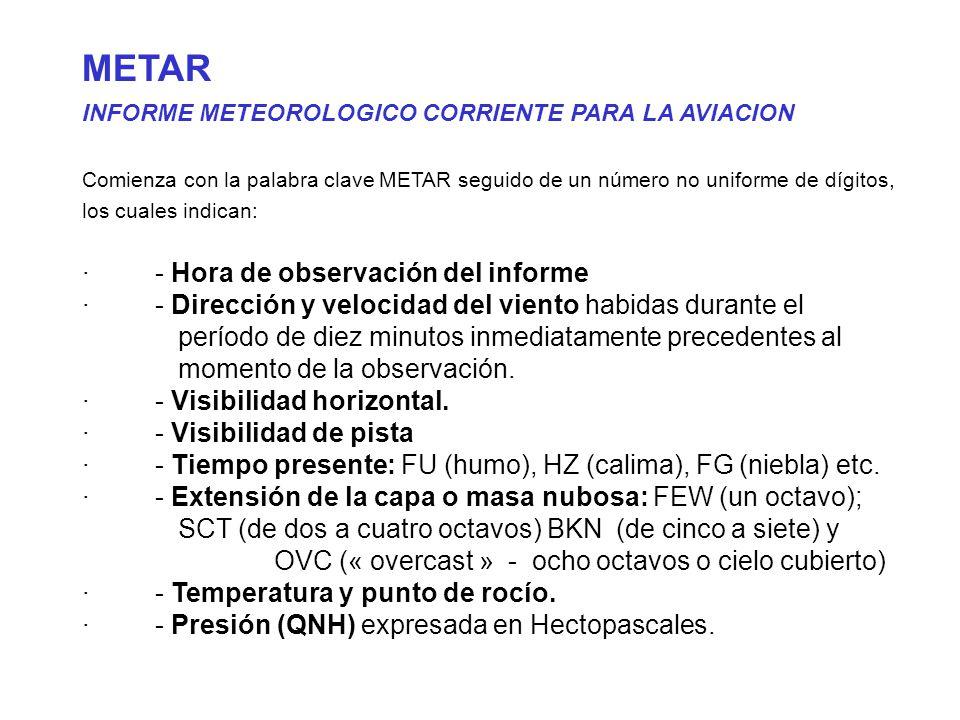 METAR · - Hora de observación del informe