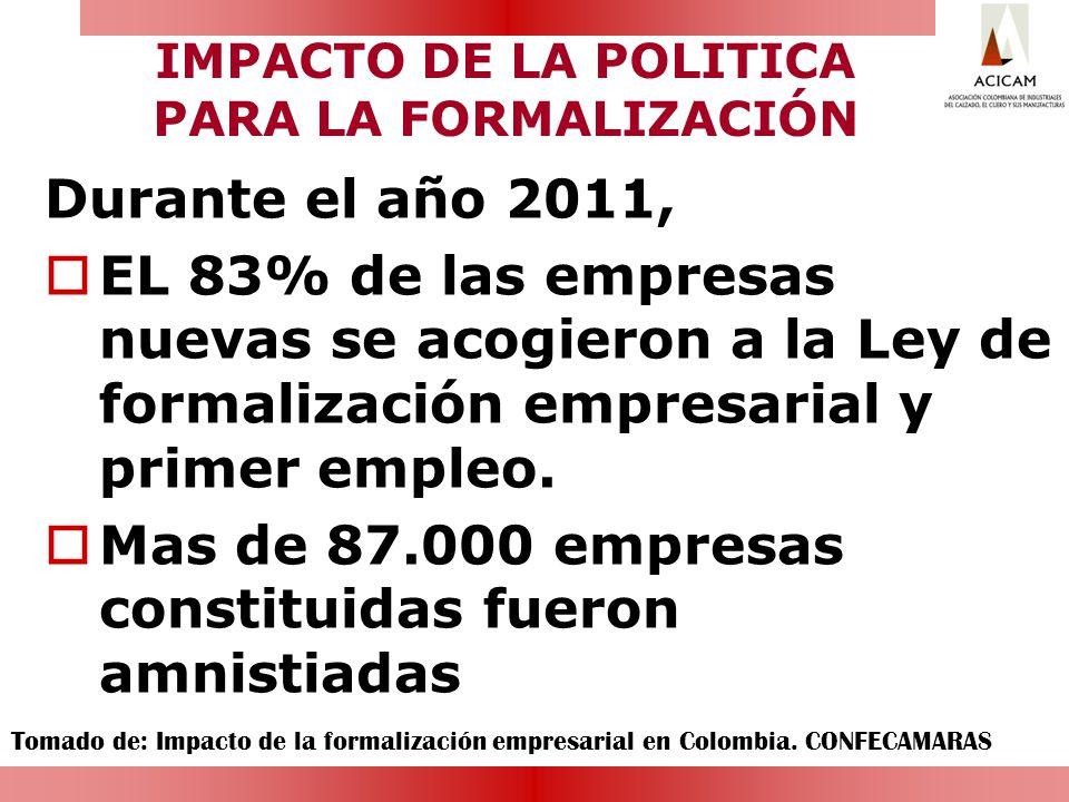 IMPACTO DE LA POLITICA PARA LA FORMALIZACIÓN