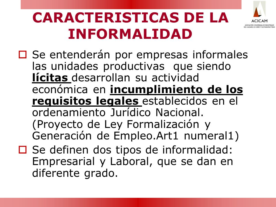 CARACTERISTICAS DE LA INFORMALIDAD