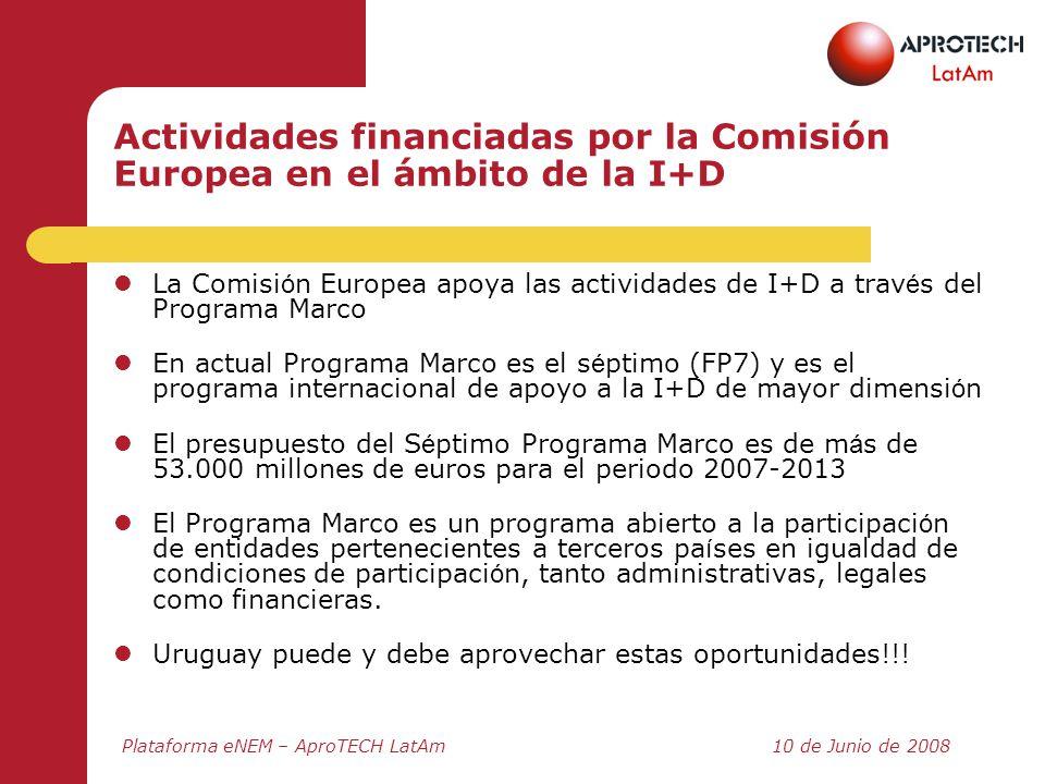 Actividades financiadas por la Comisión Europea en el ámbito de la I+D