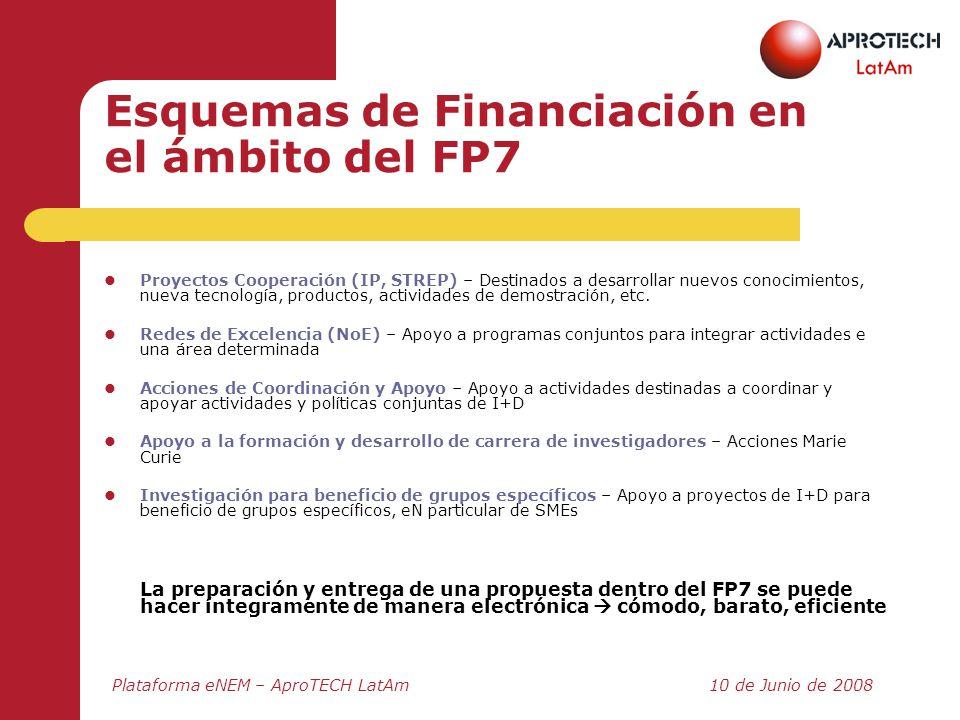 Esquemas de Financiación en el ámbito del FP7