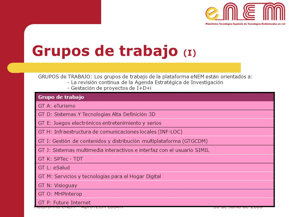 Grupos de trabajo (I) Grupo de trabajo GT A: eTurismo