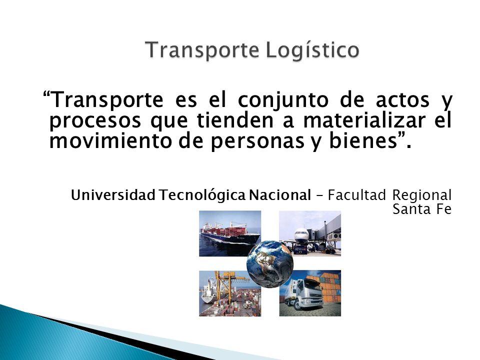 Transporte Logístico Transporte es el conjunto de actos y procesos que tienden a materializar el movimiento de personas y bienes .
