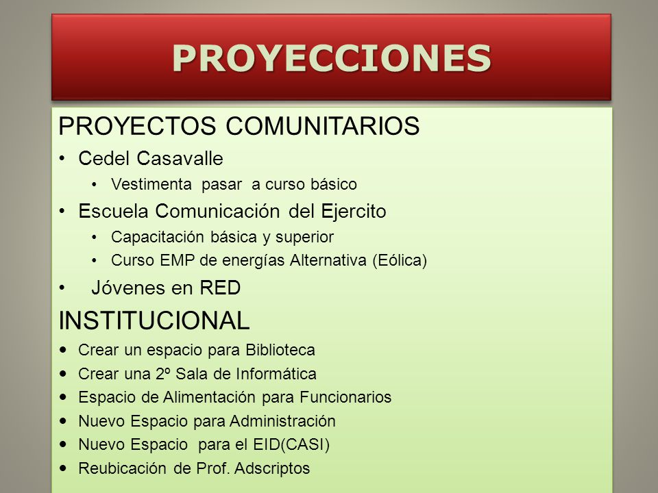 PROYECCIONES PROYECTOS COMUNITARIOS INSTITUCIONAL Cedel Casavalle