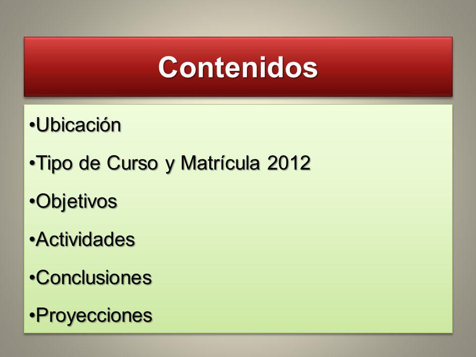 Contenidos Ubicación Tipo de Curso y Matrícula 2012 Objetivos