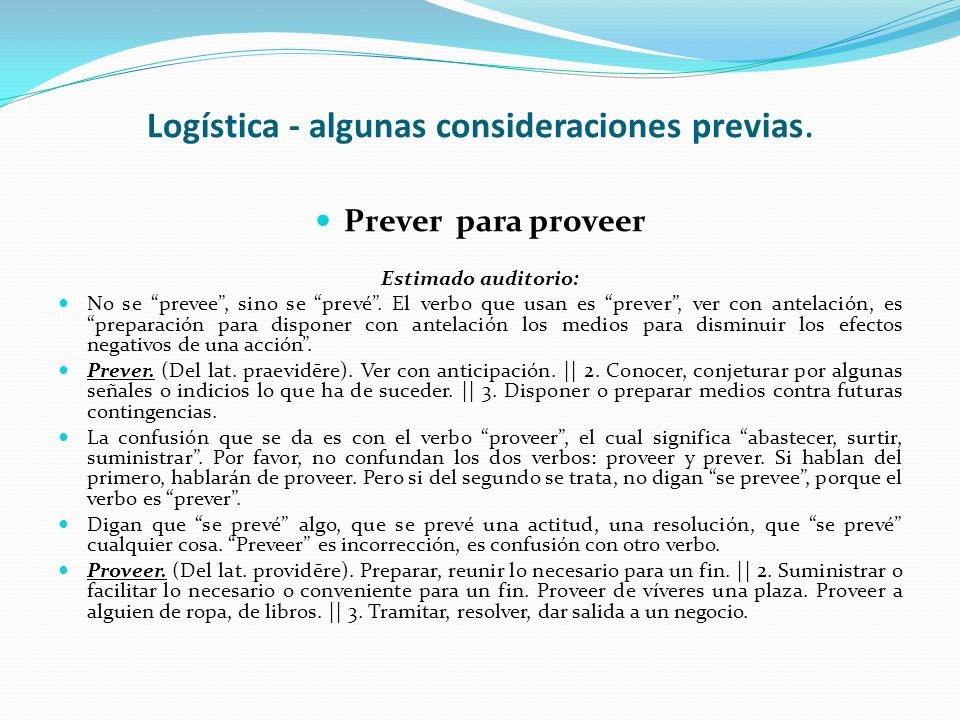 Logística - algunas consideraciones previas.