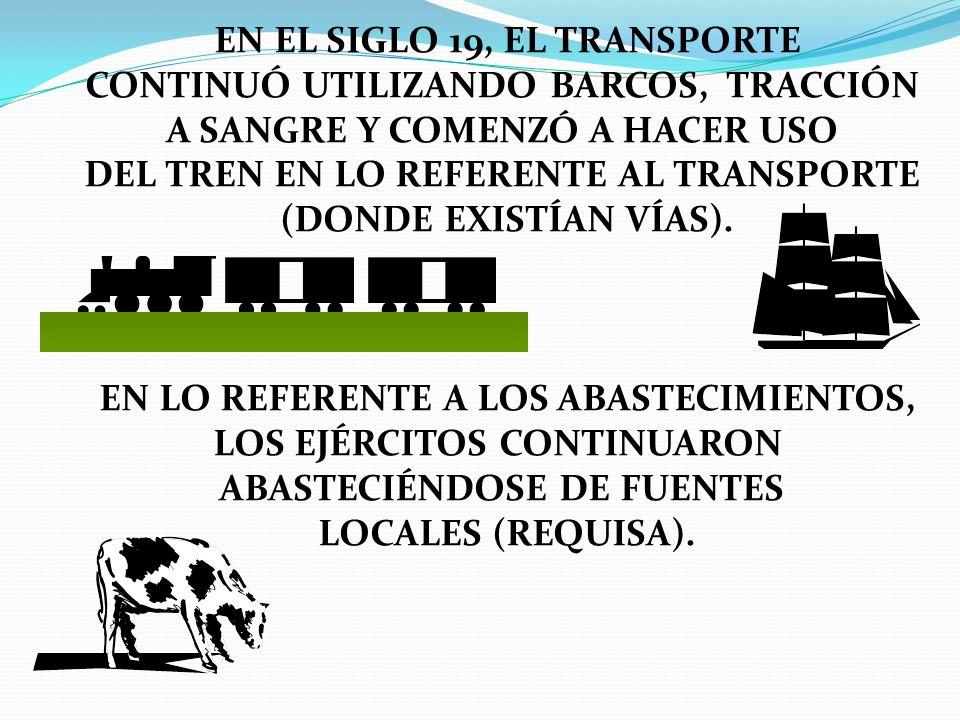 EN EL SIGLO 19, EL TRANSPORTE CONTINUÓ UTILIZANDO BARCOS, TRACCIÓN