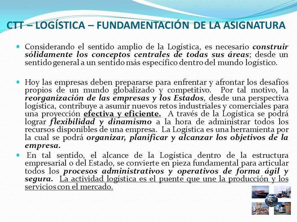 CTT – LOGÍSTICA – FUNDAMENTACIÓN DE LA ASIGNATURA