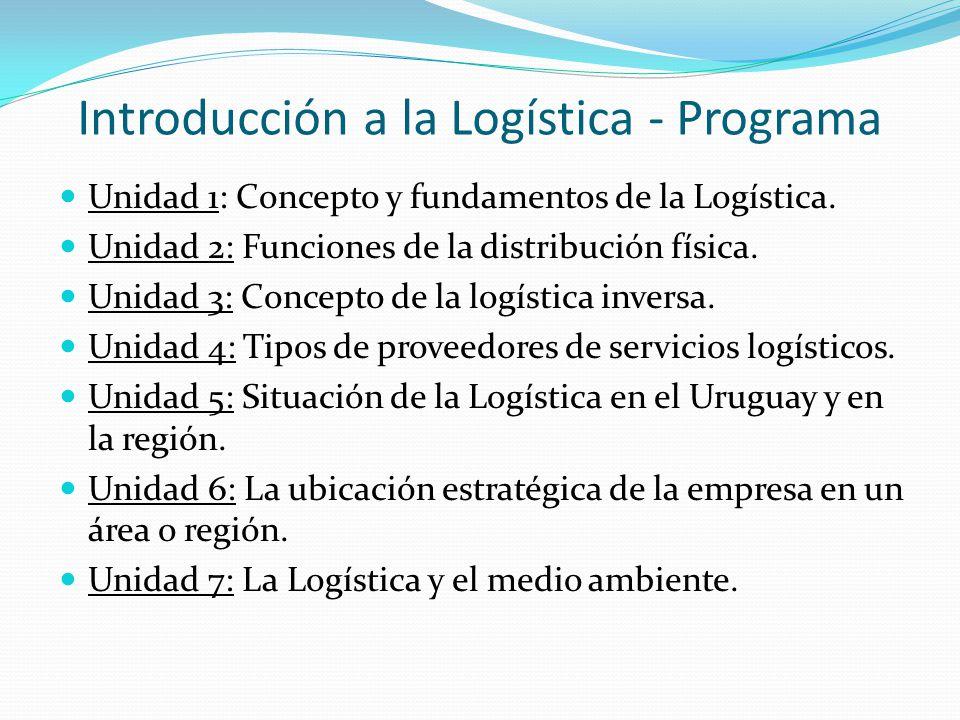 Introducción a la Logística - Programa
