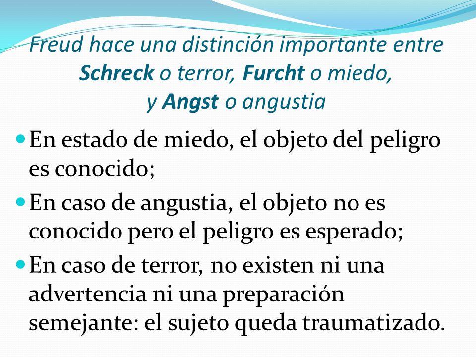 Freud hace una distinción importante entre Schreck o terror, Furcht o miedo, y Angst o angustia