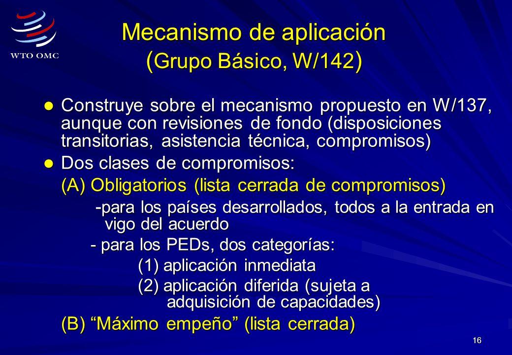 Mecanismo de aplicación (Grupo Básico, W/142)