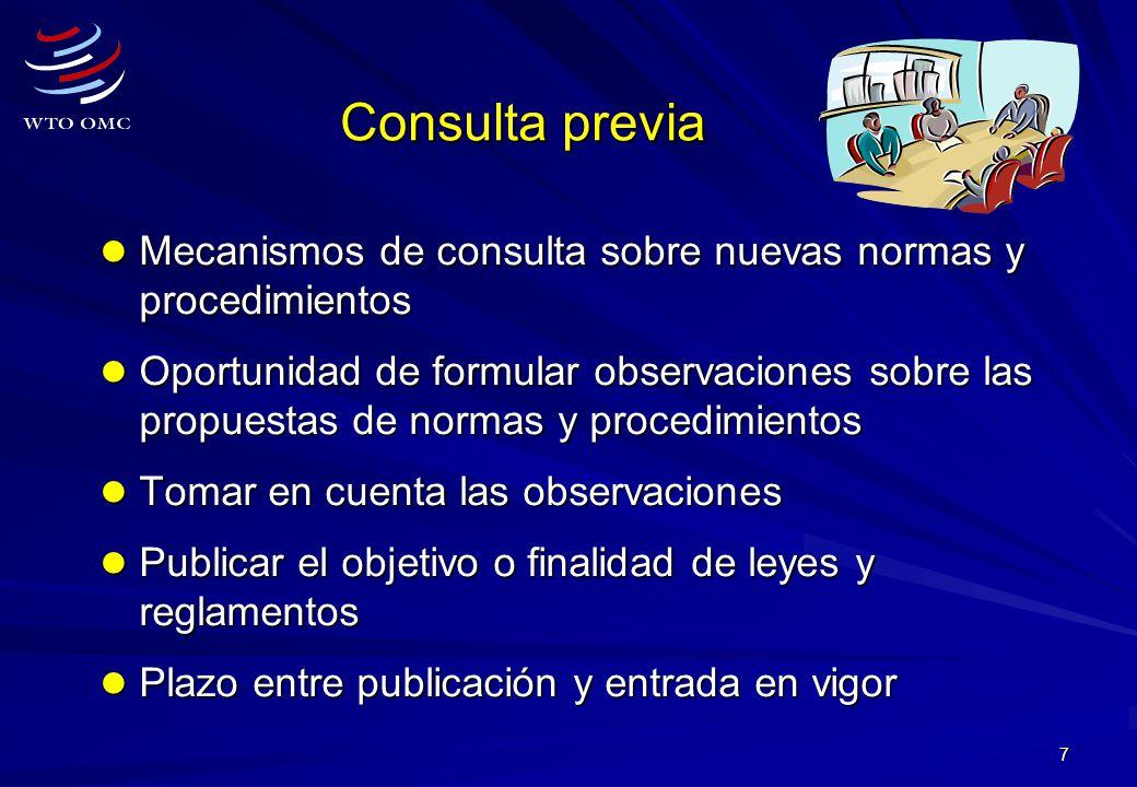 Consulta previa Mecanismos de consulta sobre nuevas normas y procedimientos.