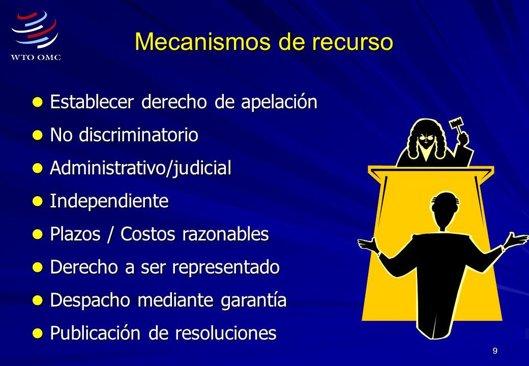 Mecanismos de recurso Establecer derecho de apelación