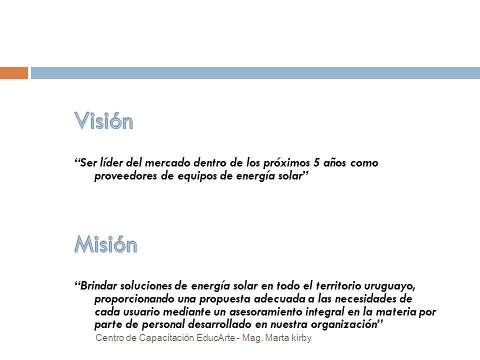Visión Ser líder del mercado dentro de los próximos 5 años como proveedores de equipos de energía solar