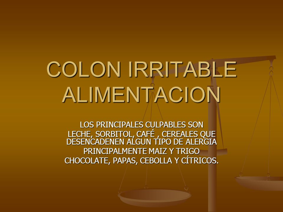 COLON IRRITABLE ALIMENTACION