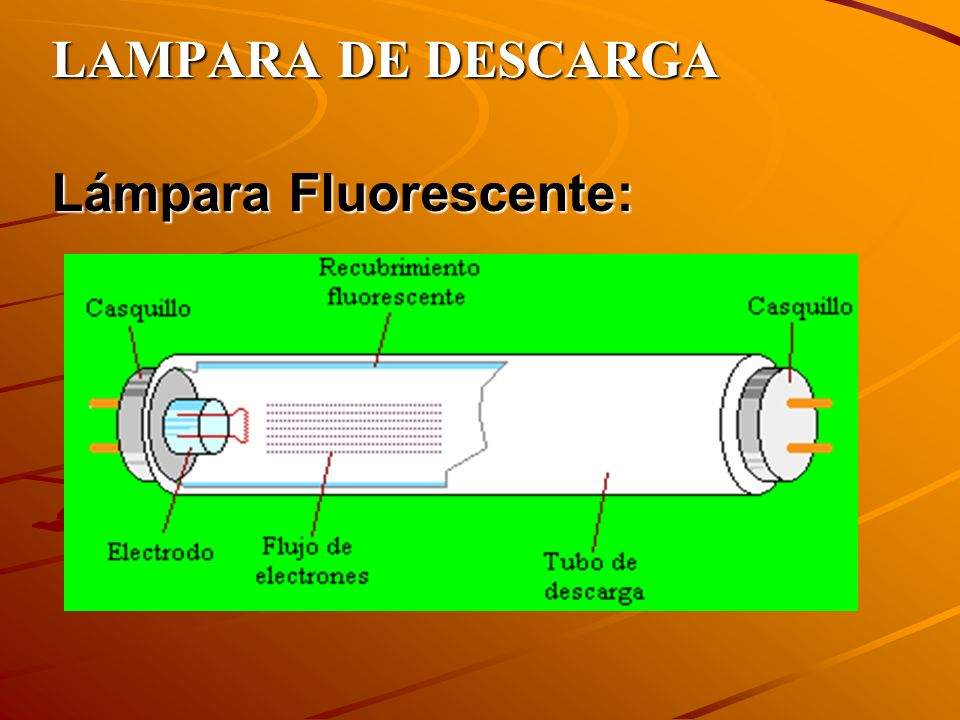LAMPARA DE DESCARGA Lámpara Fluorescente: