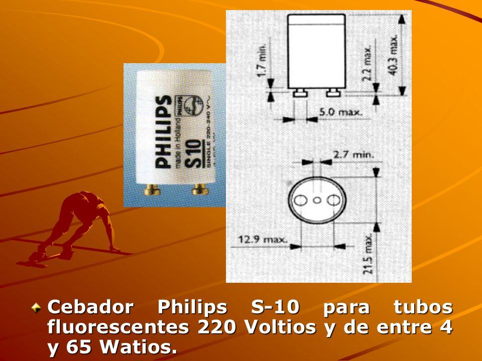 Cebador Philips S-10 para tubos fluorescentes 220 Voltios y de entre 4 y 65 Watios.