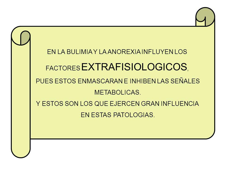 EN LA BULIMIA Y LA ANOREXIA INFLUYEN LOS FACTORES EXTRAFISIOLOGICOS,