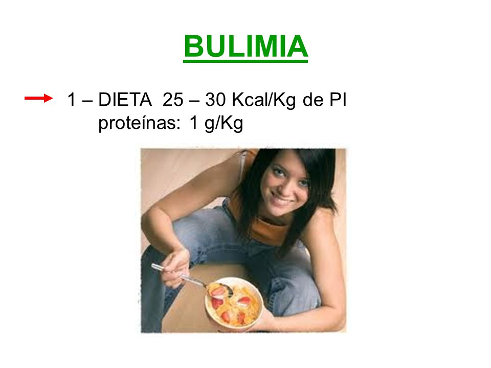 BULIMIA 1 – DIETA 25 – 30 Kcal/Kg de PI proteínas: 1 g/Kg