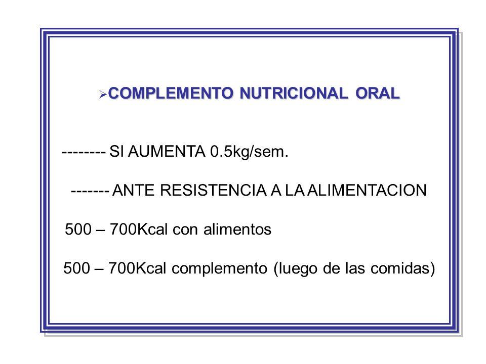 -------- SI AUMENTA 0.5kg/sem.
