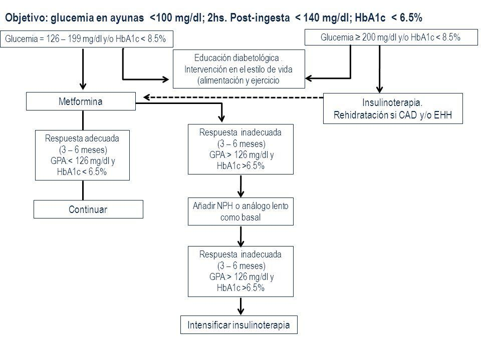 Objetivo: glucemia en ayunas <100 mg/dl; 2hs