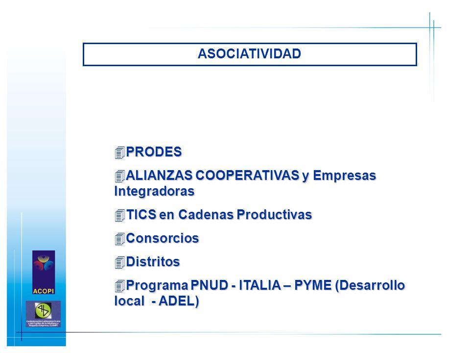 ASOCIATIVIDAD PRODES. ALIANZAS COOPERATIVAS y Empresas Integradoras. TICS en Cadenas Productivas.